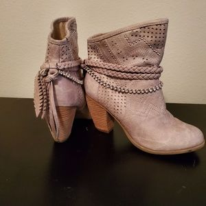 Not Rated tan suede ankle boots, size 6.5